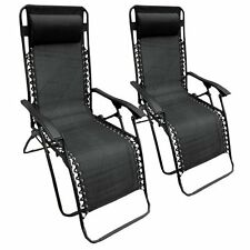 Two Black Textilene Reclining Folding Outdoor Garden Patio Sun Chair Lounger 2
