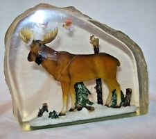 "Vintage Carved Lucite Outdoor Scene Moose Birds Trees 5.5 x 6 x 2"" Paperweight"