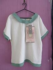 Mina Uk Top Ivory/green size 10 BNWT