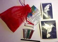 MINI GLITTER Tattoo Kit Party Bag Filler Parrot 3 brillantini 2 GRANDI Stencil