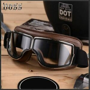Men's Full Face Leather Vintage Padded Motorcycle Motocross Goggles
