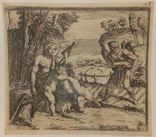 Adam et Eve aux champs, eau-forte d'Orazio Borgianni après Raphael, 1615