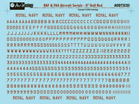 RAF or FAA aircraft serials - 8 inch Dull Red - 1/72 scale Aviaeology Decals