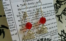 I love Jesus Red Glass Beads Plated Silver Dangle Earrings