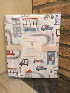 Pottery Barn Kids City Print Full Sheet Set Vehicles Cars Bike Crane New