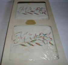 Vintage NIB Worth Pillow Cases Pastel Embroidered Mr & Mrs Pillowcases
