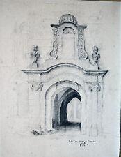 DESSIN-MINE DE PLOMB-CLOITRE DE BARSAC-SIGNATURE-ARCHITECTURE-PORTE-
