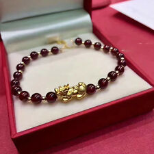 New Real 24k Yellow Gold 3D Lucky Pixiu With 18k Gold Beads With Garnet Bracelet