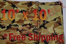 10' x 10' Camo Brown Beige Tarp Hunting Firewood Waterproof Camping Woodpile ATV