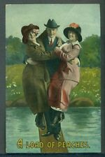 Romantic Couple Man with Two Ladies A LOAD OF PEACHES 1914 Vintage Postcard