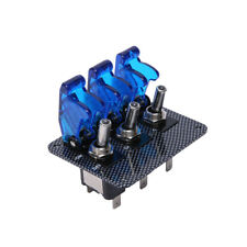 12V Blue LED Safety Cover Aircraft Toggle Switch Carbon Fiber Surface Panel
