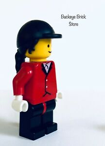 Lego Minifig Paradisa Girl With Red Riding Jacket Black Helmet w/ Ponytail