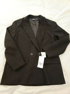 Zara Womens Blazer Suit Coat Black Large