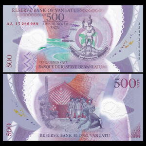 Vanuatu 500 Vatu, 2017, P-18, Polymer, Prefix AA, Banknote, UNC