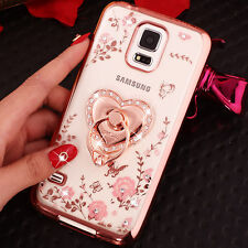 Ultra-thin flower Case Cover For Samsung Note +Bling Crystal Metal Ring stand