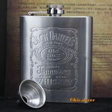 7oz Stainless Jack Daniels Liquor Whiskey Alcohol Pocket Hip Flask Gift + Funnel
