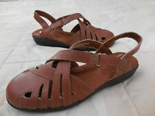 c57ee437ab37 DR SCHOLLS Double Air-Pillo Brown LEATHER FISHERMAN Adv Comfort Low SANDAL  6.5M
