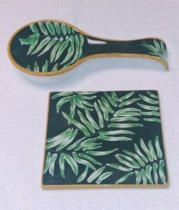 "Ceramic Spoon Rest & Trivet Set 222 Fifth Brand ""Night Fern"" Pattern"