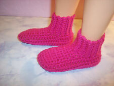 Fuchsia Hand Crochet Slipper Socks Shoes For The My Size Barbie Doll