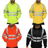 Hi Viz Vis High Visibility Hoodie Jacket Men Work Waterproof Sweatshirts Outwear