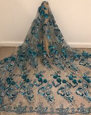 """TURQUOISE WHITE 3D EMBROIDERY BEAD SEQUIN RHINESTONE MESH LACE FABRIC 50"""" 1 YD"""