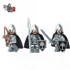 Lord of the rings Gondor Soldiers 3 Minifigures. Made using LEGO & custom parts.