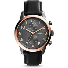 Fossil FS4935 Men's Townsman Rose Gold Case Quartz Chronograph Black Watch NEW