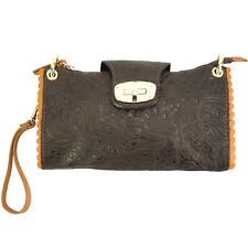 TJS Genuine Leather Handbag Clutch Purse Pattern Handmade Italy Dark Brown Tan