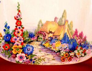 SWINNERTONS Cake Plate OLD ENGLAND GARDENS China COTTAGE Vintage ART DECO