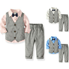 3PCS Kids Baby Boys Gentleman Clothes Outfits Grid Waistcoat + Shirt + Pants Set