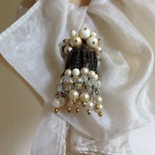 Vintage Faux Pearl Dangle Cluster Beaded Brooch Pin Date Unknown