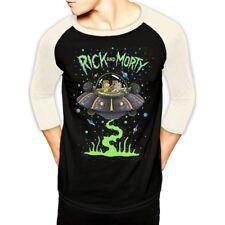 Rick and Morty Spaceship Unisex Medium Baseball Shirt - Black