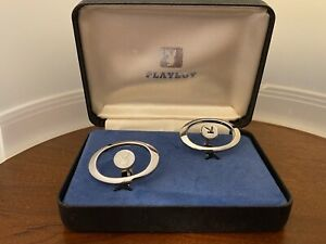 Vintage Sterling Silver Playboy Cufflinks In Original Box