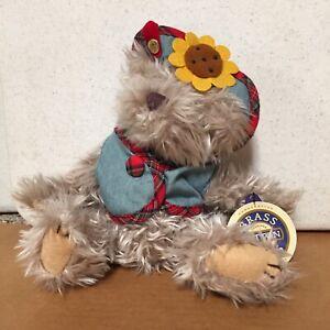 "Blossom brass button bear collection plush stuffed animal bear New Tags 9"" AR51"