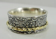Or Paz Sterling Silver Gold Spinner Ring Size 9.5 Scroll Design