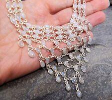 925 Silver RAINBOW MOONSTONE Multi-Gem Chandelier Necklace N442~Silverwave*uk