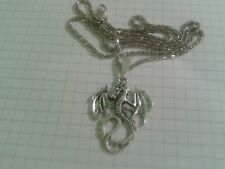 """TIBETAN SILVER """"SOLID DRAGON """"PENDANT ON 22"""" HOLLOW SILVER PLATED NECKLACE CHAIN"""