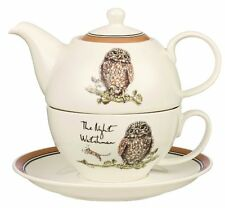 COUNTRY PURSUITS TEA FOR ONE Owl NIGHT WATCHMAN Saucer + Teapot + Cup FINE CHINA