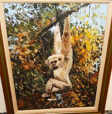 BANNON MONKEY SWINGING IN A TREE ORIGINAL OIL ON CANVAS PAINTING