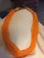 One Of A Kind Ethnic Beaded Necklace With Handmade Wood Clasp