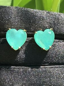 14K GOLD EXOTIC NATURAL COLOMBIAN EMERALD HEART EARRINGS NEON GREEN NICE GIFT