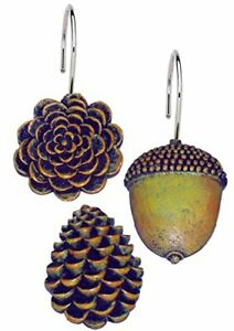"""Carnation Home Fashions """"Pine Cones"""" resin shower curtain hooks, set of 12"""