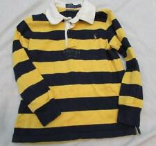 POLO RALPH LAUREN boys 4 4T navy blue yellow striped l/s rugby shirt