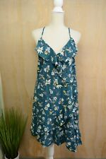NWT Mossimo - Teal floral RUFFLED faux wrap sleeveless rayon dress, XXL