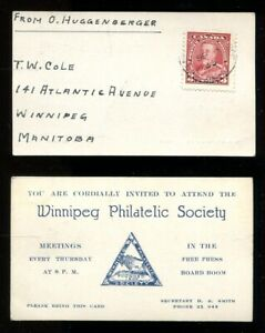 WINNIPEG Philatelic Society Business Card Mailed 1935. Unusual          (p02020)