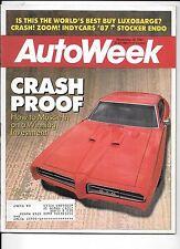 Autoweek Magazine Nov 1987. Crash proof Muscle Car investments. Ferrari 348 Spy.