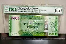 Guyana 5000 Dollars 2013 P# 40 PMG Superb Gem UNC 65 EPQ