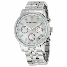 MICHAEL KORS MK5020 RITZ Chronograph White Pearl Dial Silver Tone Women's Watch