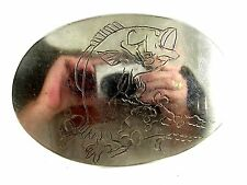 Vintage Etched Big Mouth Bass Fish Belt Buckle Unmarked 092214