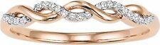 14K Rose Gold Ladies Diamond Infinity Knot Braided Wedding Band